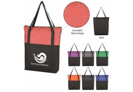 Crosshatch Non-Woven Zippered Tote Bag