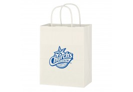 "8"" x 10-1/4"" Kraft Paper White Shopping Bag"