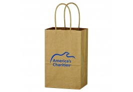 "5-1/4"" x 8-1/4"" Kraft Paper Brown Shopping Bag"