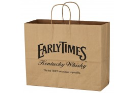 "16"" x 12-1/2"" Kraft Paper Brown Shopping Bag"