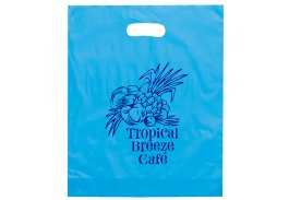 Orchid Frosted Die Cut Handle Plastic Bag